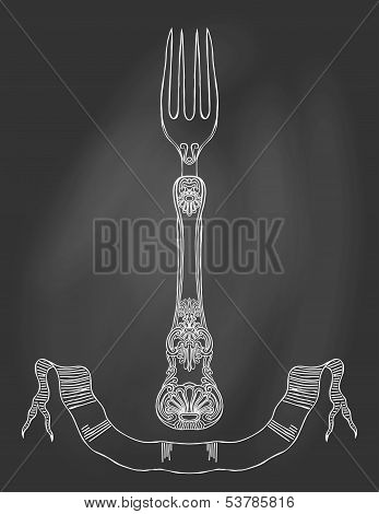 Illustration of an ornamented fork on chalkboard.