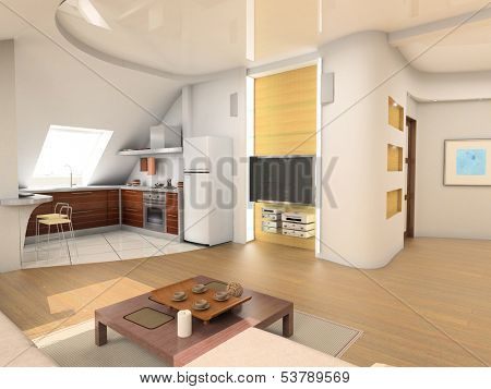 the design of modern attic living room interior with kitchen (3D)
