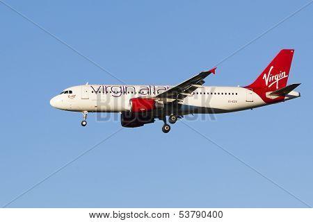 Virgin Atlantic aircraft landing