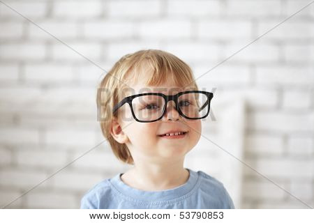 smart boy with glasses