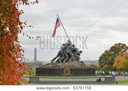 WASHINGTON, DC - NOV 06: Iwo Jima Memorial in Washington, DC on November 06, 2013. The Memorial honors the Marines who have died defending the US since 1775.and a prominent tourist attraction point