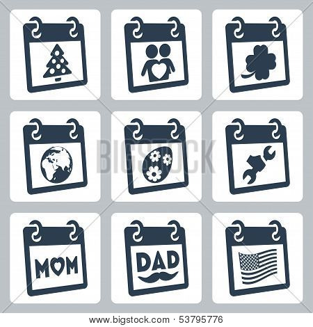 Vector Calendar Icons Representing Holidays: Christmas/new Year, Valentine's Day, St. Patrick's Day,
