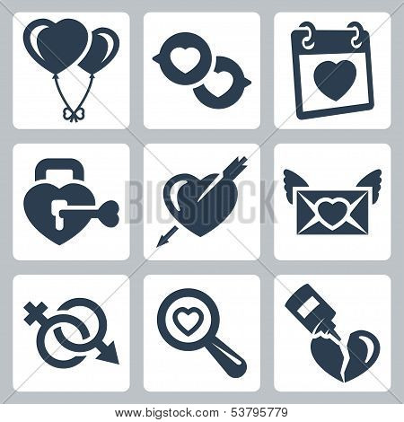 Vector Isolated Love Icons Set: Baloons, Speech Bubbles, Valentine's Day, Lock, Heart And Arrow, Lov