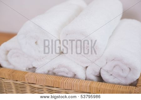 Close up of clean rolled white towels