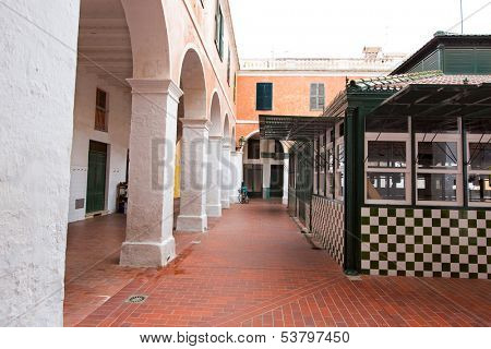 Menorca Ciutadella Mercat Municipal market with arches in Balearic islands