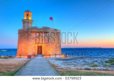 Ciutadella Castell de Sant Nicolas sunset Castillo San Nicolas in Ciudadela Balearic Islands