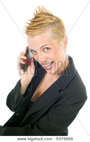 Punk Rock Business Woman Phoning