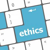 stock photo of ethics  - A keyboard with a key reading ethics - JPG