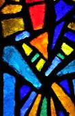 stock photo of stained glass  - Stained glass at the church of annunciation Nazareth Israel - JPG