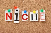 picture of niche  - The word Niche in cut out magazine letters pinned to a cork notice board - JPG