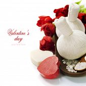 foto of thai massage  - Bath and spa Valentine theme with thai herbal compress stamps - JPG