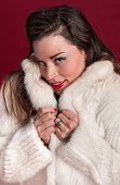 foto of coy  - Coy Pinup Girl in Fur Coat against red backdrop - JPG