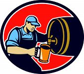 Bartender Pouring Beer Pitcher Barrel Retro