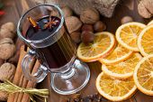 Mulled wine with cinnamon sticks and christmas anise stars