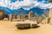 stock photo of cultural artifacts  - Inca Wall in Machu Picchu Peru South America. Example of polygonal masonry. The famous 32 angles stone in ancient Inca architecture.