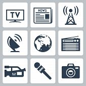 picture of mass media  - Vector mass media icons set over white - JPG