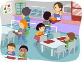 pic of canteen  - Illustration of Kids in a Canteen Buying and Eating Lunch - JPG