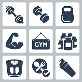 Vector Isolated Bodybuilding/fitness Icons Set