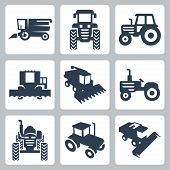 foto of tractor  - Vector isolated tractor and combine harvester icons - JPG