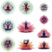 picture of yin  - Silhouettes in yoga positions with floral backgrounds - JPG
