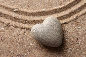 stock photo of pumice-stone  - Grey zen stone in shape of heart - JPG