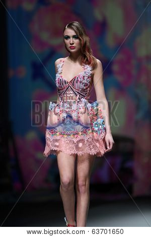 ZAGREB, CROATIA - APRIL 12 : Fashion model wears clothes made by Zigman on