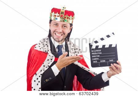 King businessman with movie board isolated on white