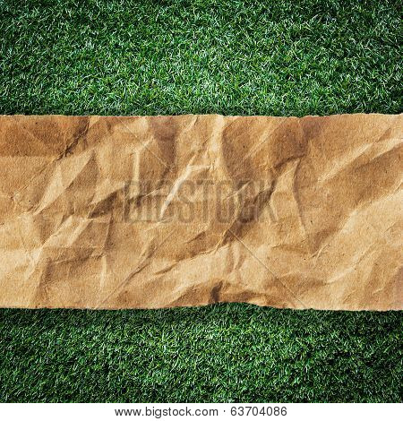 Brown Recycled Paper Ripped On Grass With Space For Text