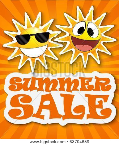 Summer sale background with smiling sun