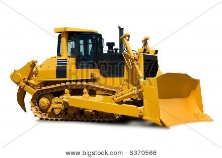 New Yellow Bulldozer Over White