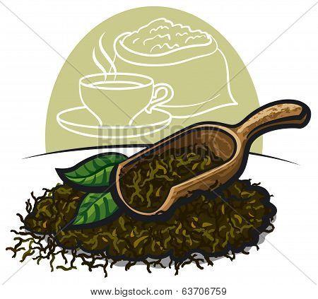 Dry Green Tea Leaves