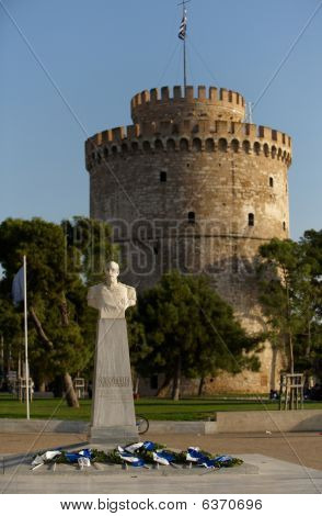 White Tower and admiral Votsis statue Thessaloniki Greece