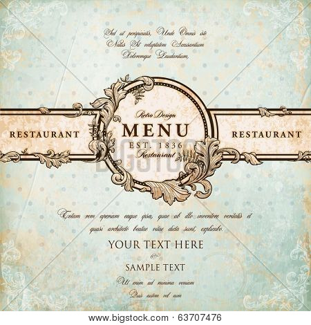 Restaurant Label Design with Old Floral Frame for Vintage Menu Design