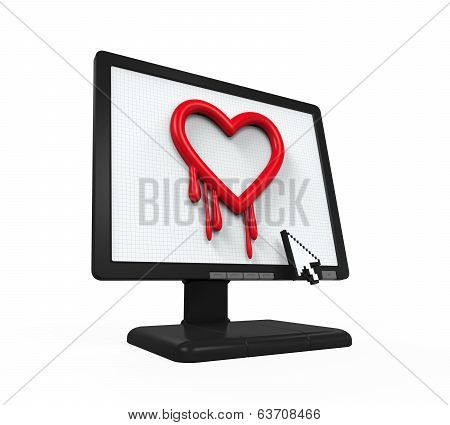 Heartbleed Bug in Computer Screen