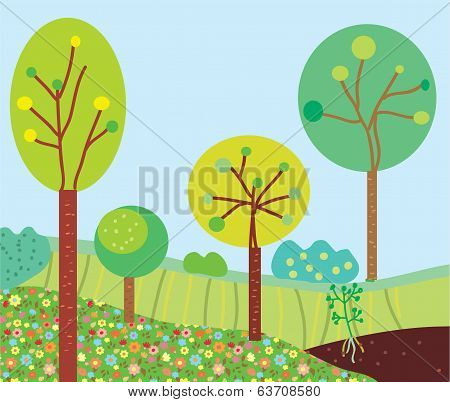 Funny garden landscape with trees