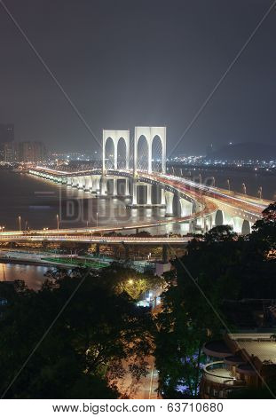 View With Sai Van Bridge At Night Macao