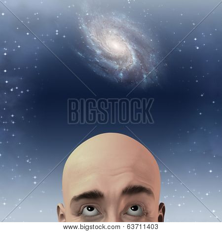 Man gazes up with stars