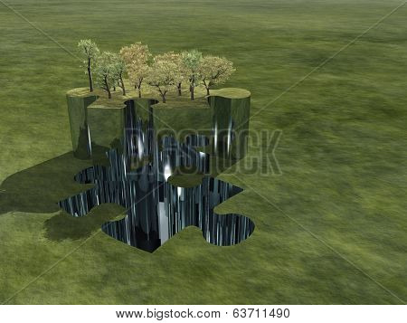 Group of trees atop puzzle piece in green landscape