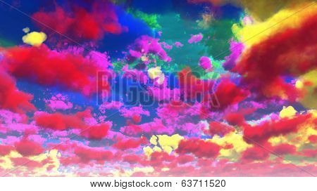 Vivid Multi-hued Clouds