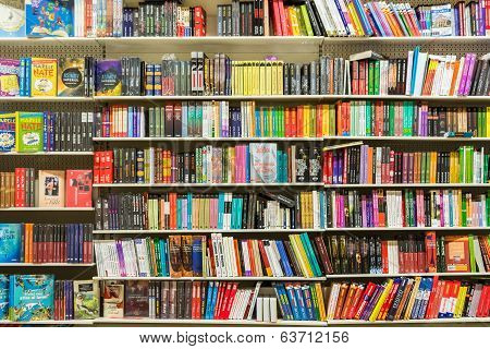 International Books On Library Shelf
