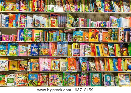 Children Books On Library Shelf
