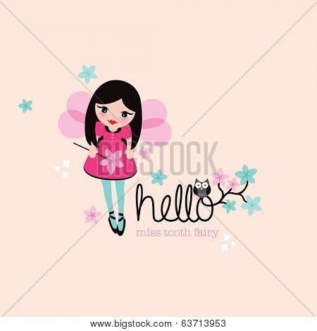 Hello tooth fairy cute girls illustration postcard paper design with owl and flowers in vector