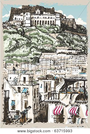 Vintage View Of Castle And Palaces In Naples, Italy