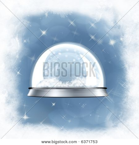 Snow Globe Against A Blue Frosted Background