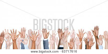 Group of multi-ethnic people's arm outstretched in a white background.