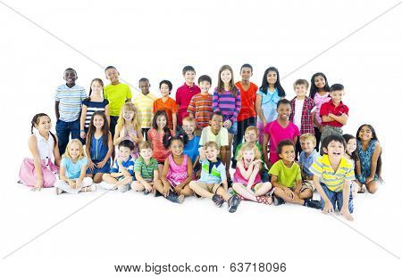 Multi-ethnic Children Sitting Together