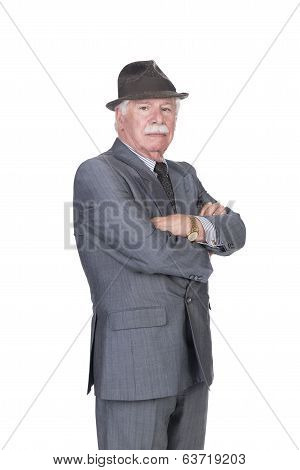 Old Man With Gray Suit And Hat