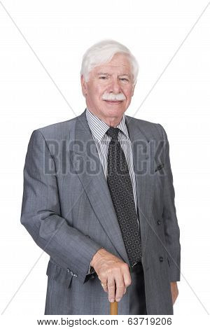 Old Man In Grey Suit And Walking Stick