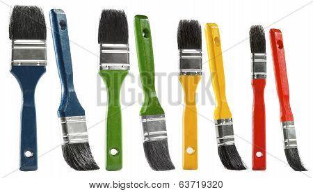 Paint Brush Set, Multicolor Paintbrush Isolated Over White Background