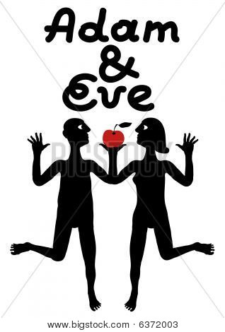 Adam And Eve Simple Symbolic Illustration